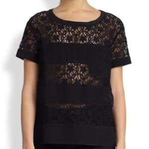 Marc By Marc Jacobs Black Silk & Lace Top, Small